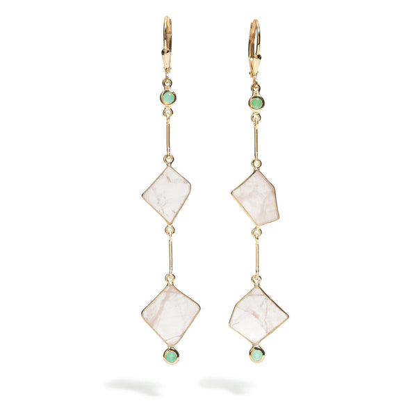 Crystalia - Rose Quartz Link Earrings