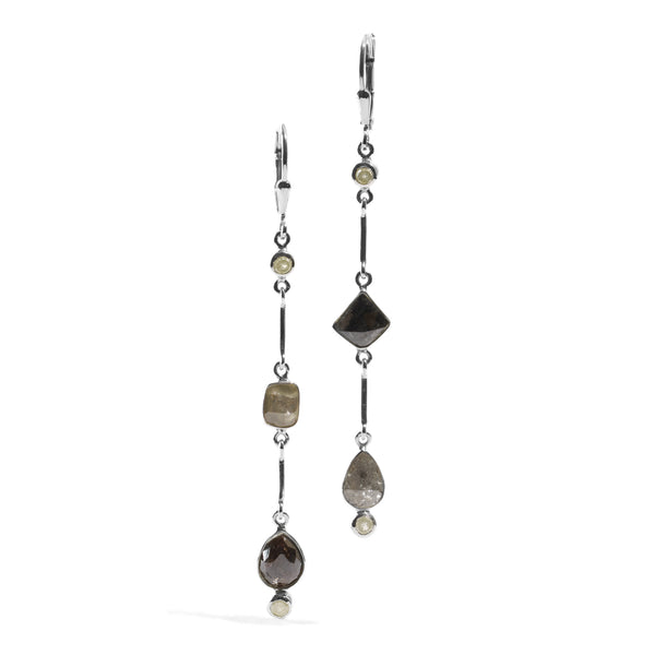Rough Cut Diamond - Link Earrings