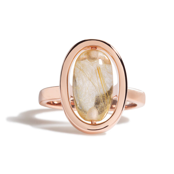 Tranquility - Golden Rutilated Quartz Rose Gold Ring