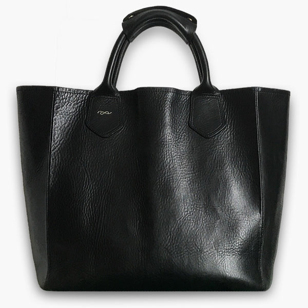 Tote bag in black leather
