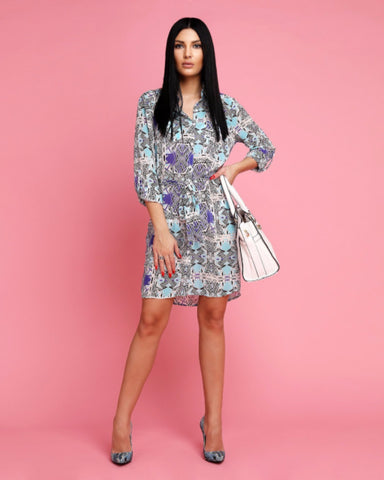 Abstract Print Belted Shirt Dress - Jezzelle