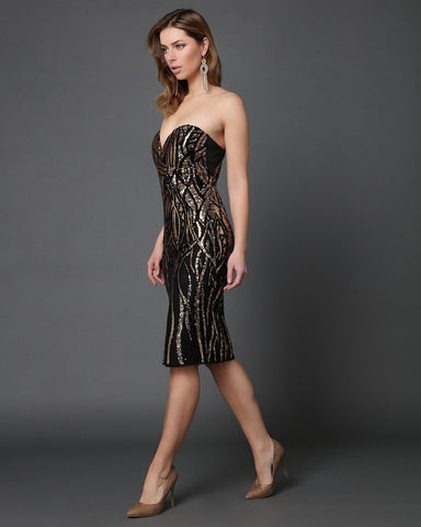 Sequins Embellished Sweetheart Bandeau Dress-Jezzelle