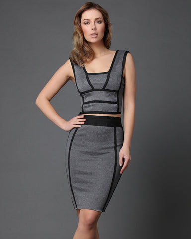 Black Piping Trim Grey Skirt Co-ord Set - Jezzelle
