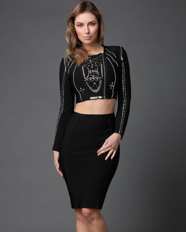 Cropped Beaded Zip Top & Pencil Skirt Bandage Set - Jezzelle