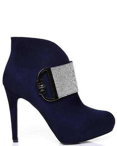 Encrusted Buckle Ankle Boots - Jezzelle