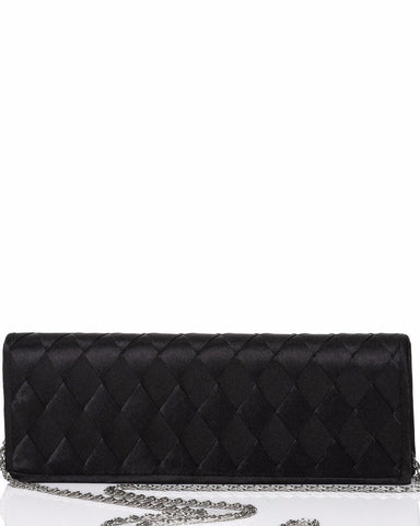 Plaited Satin Black Evening Clutch - Jezzelle