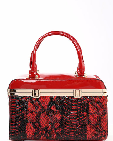 Faux Snake Red Box Handbag - Jezzelle