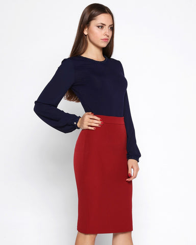 Back Zip Pencil Skirt - Jezzelle