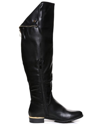 Flat Over The Knee Black Boots - Jezzelle