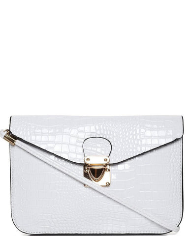 Mock Croc White Envelope Clutch - Jezzelle
