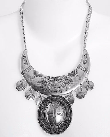 Aztec Chunky Metal Necklace - Jezzelle