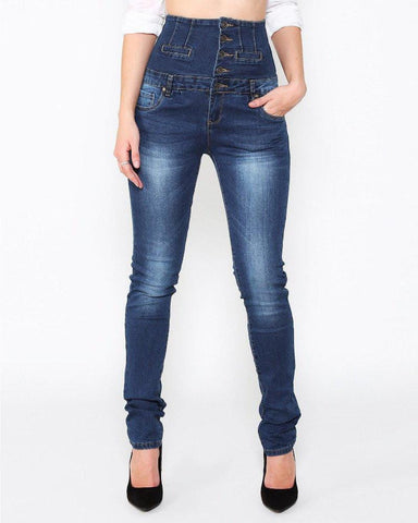 Super High Waist Blue Jeans-Jezzelle