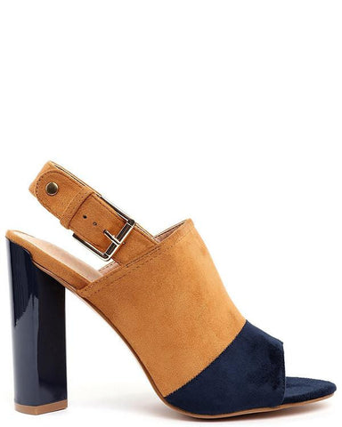 Yellow and Navy Suede Peep-toe Booties-Jezzelle
