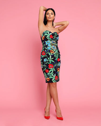 Tropical Print Bandeau Midi Dress-Jezzelle