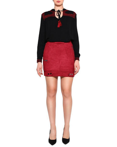 Burgundy Suede Mini Skirt - Jezzelle