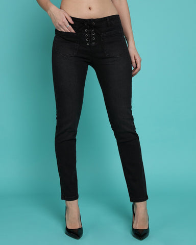 Lace Up Front Charcoal Skinny Jeans-Jezzelle