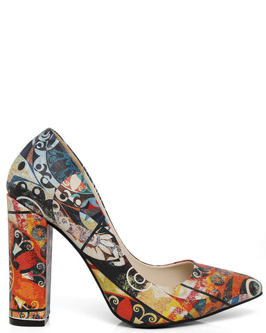 Picasso Print Leather Pumps - Jezzelle
