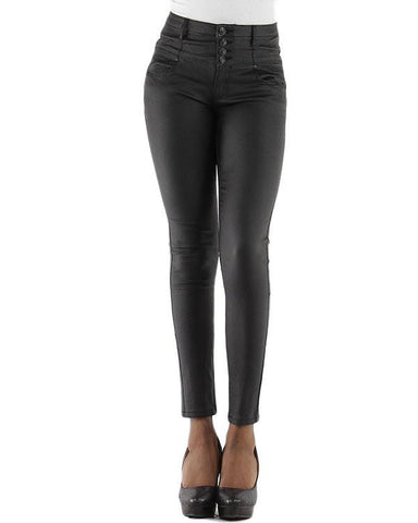 Faux Leather High Waisted Jeans - Jezzelle