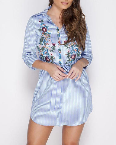 Floral Embroidered Stripy Shirt Dress - Jezzelle