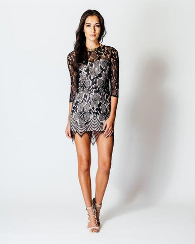 3/4 Sleeve Lace Bodycon Mini Dress - jezzelle  - 1