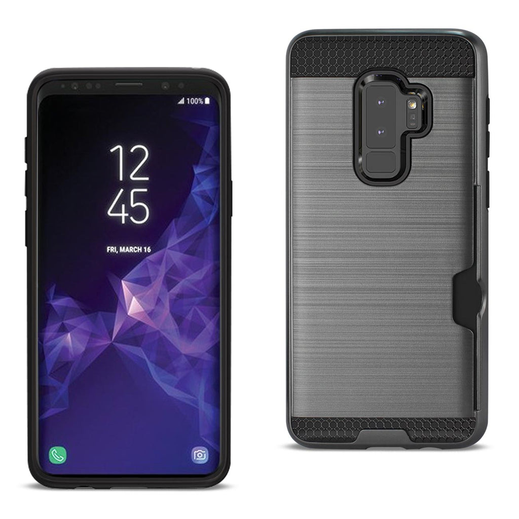 Reiko Samsung Galaxy S9 Plus Slim Armor Hybrid Case With Card Holder In Gray | MaxStrata