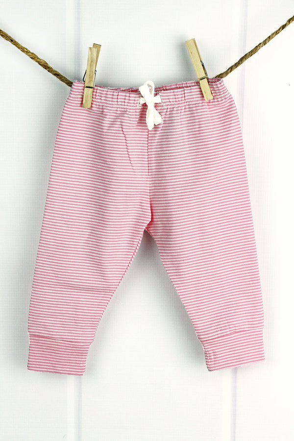 Pink and White Striped Pants, 0-6 Months