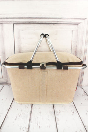 Khaki Juco Collapsible Insulated Market Basket with Lid