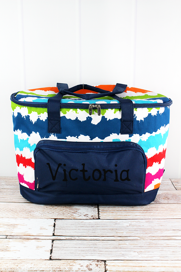 Summer Vibes and Navy Cooler Tote with Lid