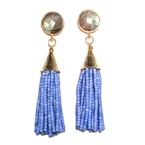 Cha Cha Cha Tassel Earrings, Labradorite & Jacaranda