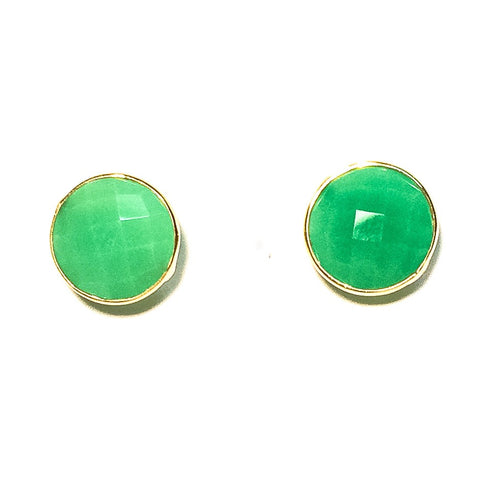 Gumdrop Gemstone Stud Earrings, Chrysoprase