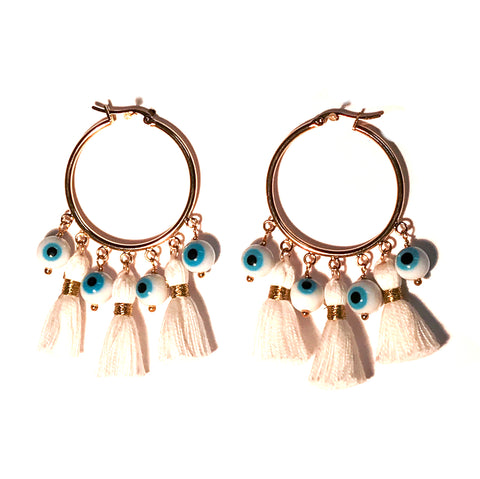 HE 602 Cabana Tassel Hoop Earrings in White Evil Eye