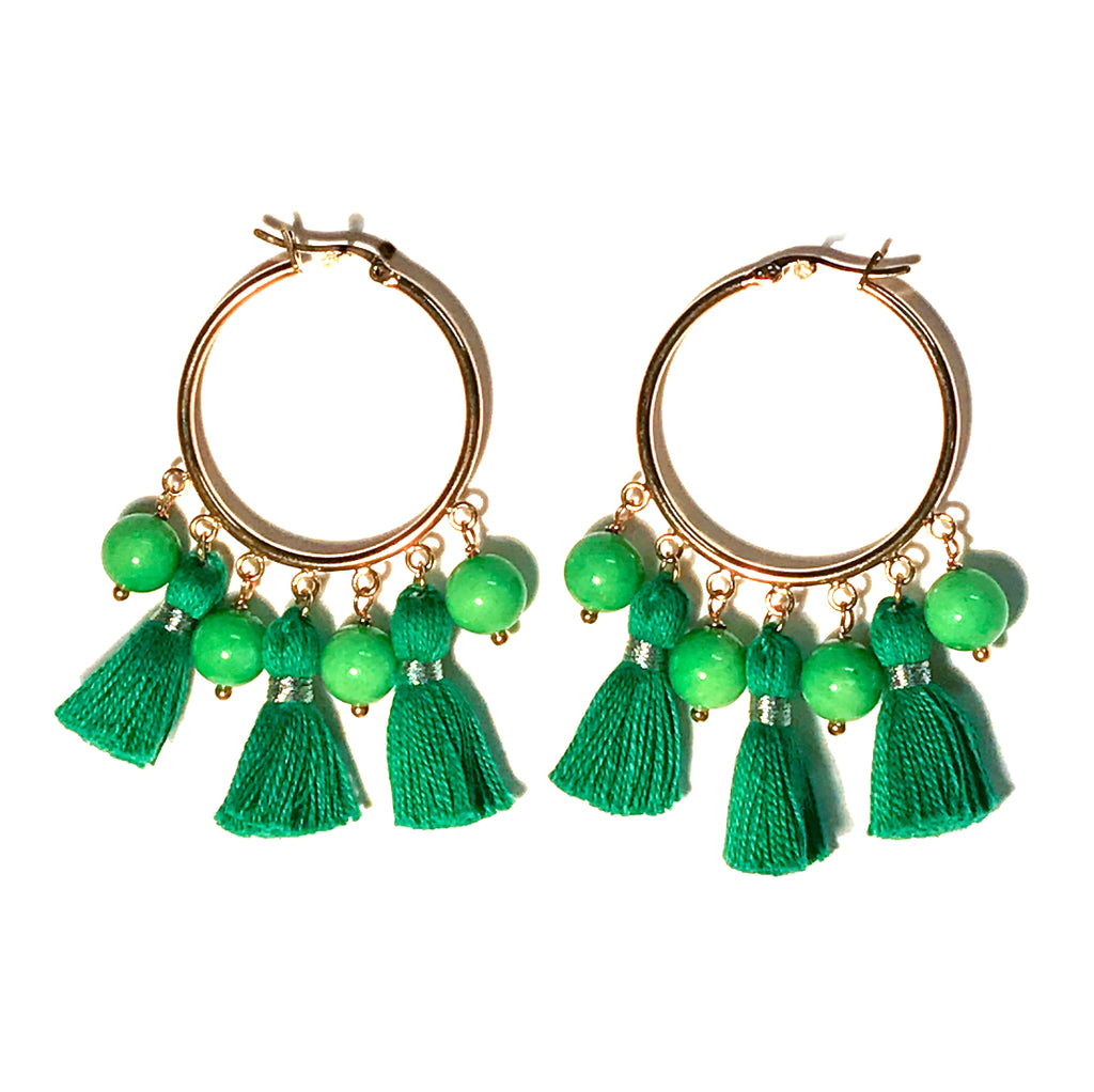 HE 602 Cabana Tassel Hoop Earrings - Green