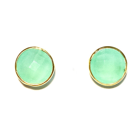 Gumdrop Gemstone Stud Earrings, Chalcedony