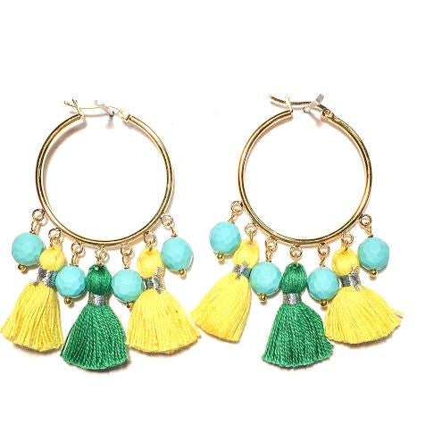 Cabana Tassel Hoop Earrings, Yellow & Green with Turquoise