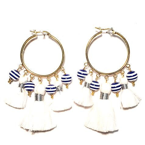 Cabana Tassel Hoop Earrings, Stripes & White (Large)