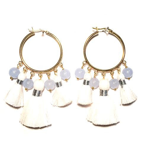 Cabana Tassel Hoop Earrings, White & Periwinkle