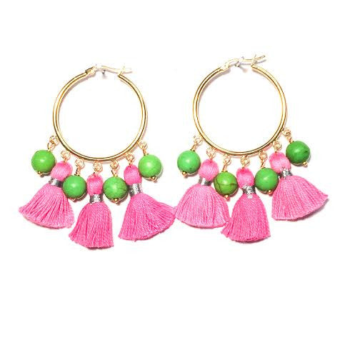 Cabana Tassel Hoop Earrings, Pink & Green
