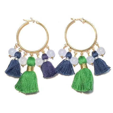 Cabana Tassel Hoop Earrings, Navy Blue & Green