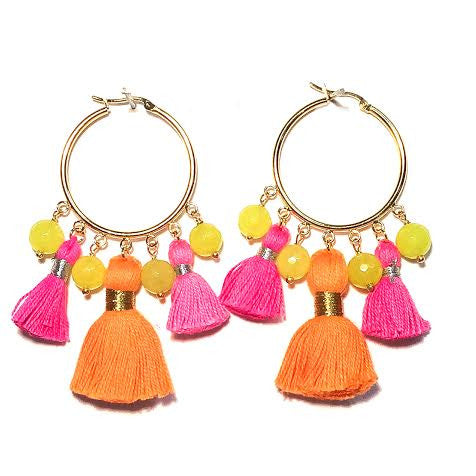 Cabana Tassel Hoop Earrings, Pink & Orange