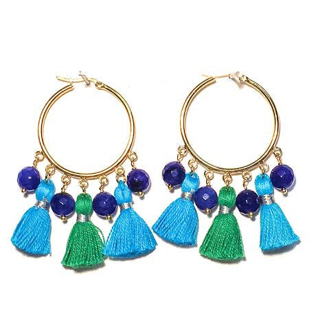 Cabana Tassel Hoop Earrings, Turquoise & Green