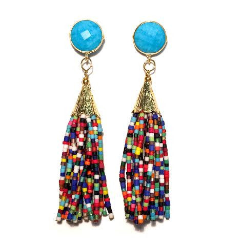 Cha Cha Cha Tassel Earrings, Turquoise & Multi