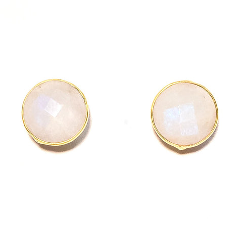Gumdrop Gemstone Stud Earrings, Moonstone