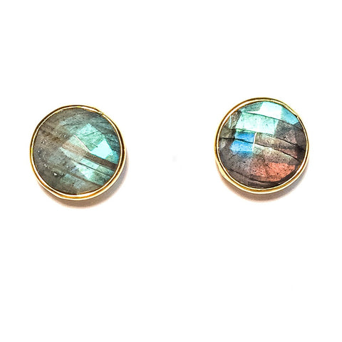 Gumdrop Gemstone Stud Earrings, Labradorite