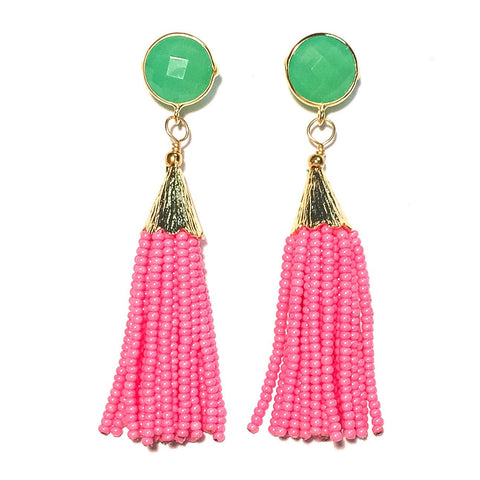 Cha Cha Cha Tassel Earrings - Pink & Green
