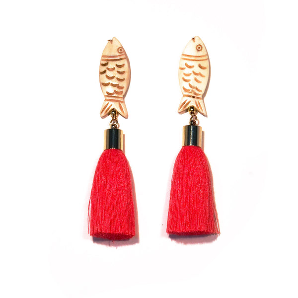 Fish Earrings - with Tassel or Shell
