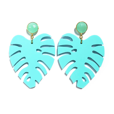 The Leaf - Gemstone in Aqua Chalcedony & Matte Aqua