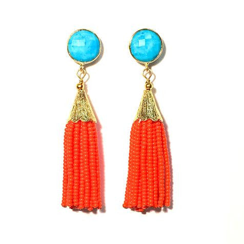 Cha Cha Cha Tassel Earrings, Turquoise & Orange