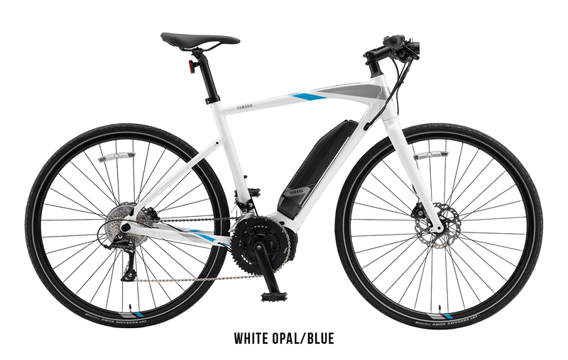 Yamaha Cross Core Yamaha Power Assist Bicycles ebike Electric Bike Opal White / Blue (M)