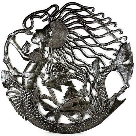 24-Inch Musical Mermaid Metal Wall Art - Croix des Bouquets