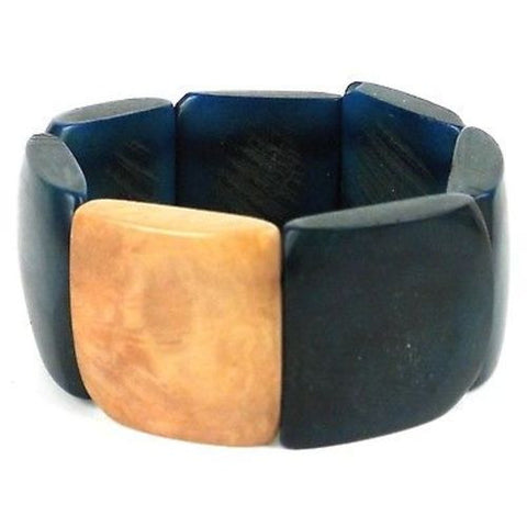 Accented Tagua Bracelet Midnight Teal - Faire Collection